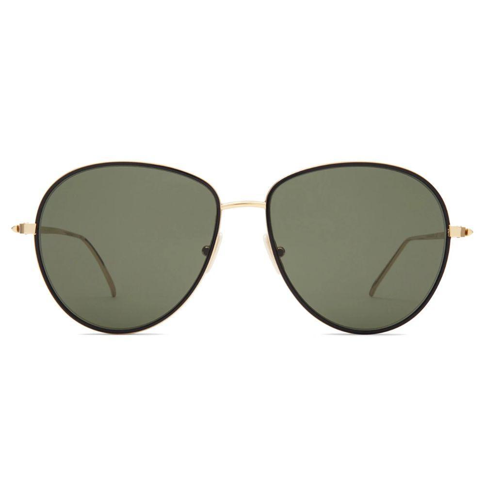 Victoria Beckham Unisex Aviator Gold Frame Solid Green Lens Sunglasses