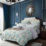 Four Season Traditional Printed Double Bedsheet Sky Blue