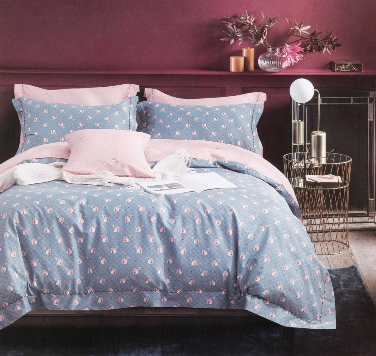 Four Season Floral Printed Double Bedsheet Light Blue