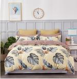 Four Season Leaf Printed Double Bedsheet Yellow