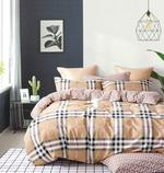 Four Season Check Printed Double Bedsheet Light Brown