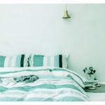 Four Season Stripe Printed Double Bedsheet Aqua