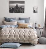 Four Season Check Printed Double Bedsheet Light Brown