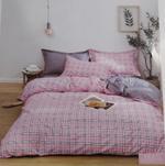 Four Season Check Printed Double Bedsheet Pink