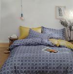 Four Season Check Printed Double Bedsheet Purple