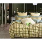 Four Season Check Printed Double Bedsheet Yellow