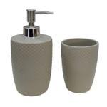 Ceramic Taupe Bathroom Set