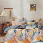 Padova Floral & Big Leaf Printed Double Bedsheet Multicolor