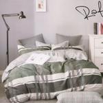 Padova Check Printed Double Bedsheet Green & Grey