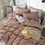 Padova Stripe Printed Double Bedsheet Choco