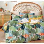 Padova Big Leaf Printed Double Bedsheet Green & Sky