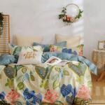 Padova Floral & Leaf Printed Double Bedsheet Cream