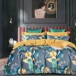 Padova Floral & Leaf Printed Double Bedsheet Grey