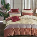 Global Black Stripe&Dot Printed Double Bedsheet Grey&Brown