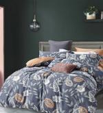 Global Black Leaf&Floral Printed Double Bedsheet Grey