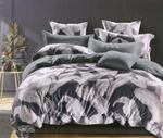 Global Black Leaf Printed Double Bedsheet Grey