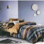 Global Black Stripe Printed Double Bedsheet Multicolor
