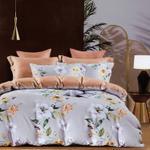 Global Black Floral Printed Double Bedsheet L.Grey
