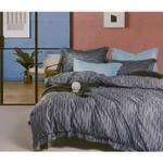Global Black Stripe Printed Double Bedsheet Grey
