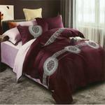 Global Black Modern Printed Double Bedsheet Maroon