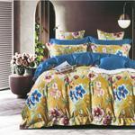 Global Black Floral Printed Double Bedsheet Mustard