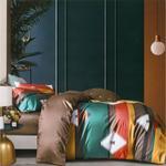 Global Black Stripe Modern Printed Double Bedsheet Multicolor