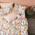 Four Season Floral Printed Double Bedsheet White