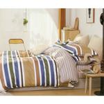 Four Season Striped Printed Double Bedsheet Multicolor