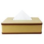 JS Beige Leather Tissue Box
