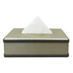 JS Taupe Leather Tissue Box