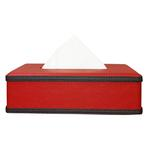 JS Red Leather Tissue Box