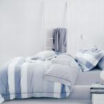 Four Season Striped Printed Double Bedsheet Blue & White