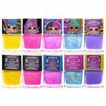 LOL 5 pcs Nail Polish With Nail Gem Wheel And Glitter Vials