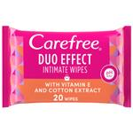 CAREFREE Daily Intimate Wipes, Duo Effect with Vitamin E and Cotton Extract, Pack of 20 Wipes