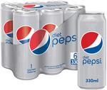 Diet Pepsi Carbonated Soft Drink Cans 330ml x6