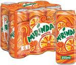 Mirinda Orange Carbonated Soft Drink Cans 330ml x6
