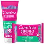 CAREFREE INTIMATE WASH GREENTEA + ALOE VERA 200ml and GREEN TEA WIPES FREE