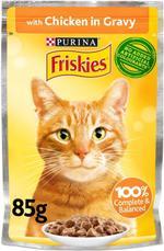 Purina Friskies Chicken Chunks in Gravy Wet Cat Food Pouch 85g