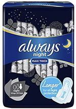 ALWAYS Dry and Comfort Night Sanitary Pads, Large, 24 ct