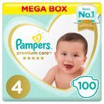 Pampers Premium Care Diapers, Size 4, Maxi, 9-14 kg, Mega Box, 100 ct