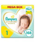 Pampers Premium Care Diapers, Size 1, Newborn, 2-5 kg, Mega Box, 168 ct