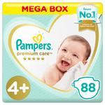 Pampers Premium Care Diapers, Size 4P, Maxi Plus, 10-15 kg, Mega Box, 88 ct