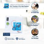 Fun® Everyday Premium 2-Ply Paper Napkin Tissue Paper 33x33cm, White, Pack of 50 X 5