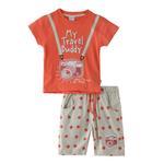 Genius Boys T-shirt With Bermuda Set,Orange/Cream Melange - SNGS2034697