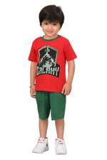 Genius Boys T-shirt With Bermuda Set,Red/Green,SIMGS20GBC037