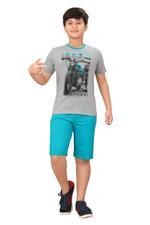 Genius Boys T-shirt With Bermuda Set,Grey/Sea Green,SIMGS20GBC060