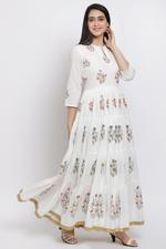 Biba Women Off White Cotton Tiered Dress,BG1185OWHT