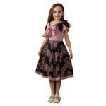 Le Crystal Girls Dress, Peach/Black -GEG1801024