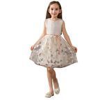Le Crystal Girls Party Wear Dress, Beige -GEG1801062