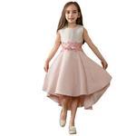 Le Crystal Girls Party Wear Dress, Beige/Pink- GEG1801049